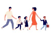 Parents and kids. Students go to school, large family mother father went their children to study. Schoolboy and schoolgirls, child in uniform vector illustration. School boy and girl go to school